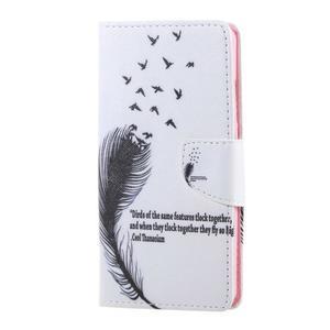 Knížkové pouzdro na mobil Honor 5X - ptačí peříčko - 1