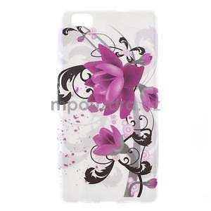 Gelový obal Style na Huawei Ascend P8 Lite - fialové květy - 1