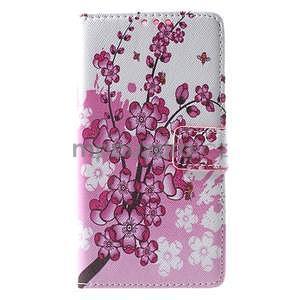Peněženkové pouzdro Style pro Huawei Ascend P8 Lite - kvetoucí větvička - 1