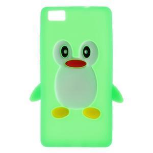 Tučňák silikonový obal na mobil Huawei P8 Lite - zelený - 1