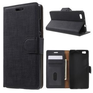Clothy PU kožené pouzdro na mobil Huawei P8 Lite - černé - 1