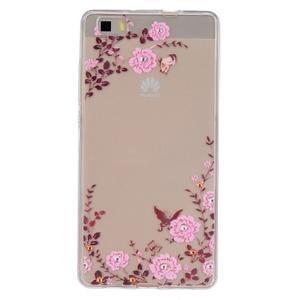 Průhledný gelový obal na Huawei P8 Lite - květinová harmonie - 1
