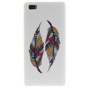 Flexi gelový obal na mobil Huawei P8 Lite - barevná peříčka - 1