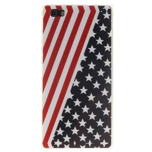 Flexi gelový obal na mobil Huawei P8 Lite - US vlajka - 1