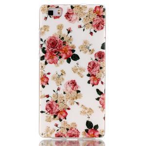 Softy gelový obal na mobil Huawei P8 Lite - květiny - 1