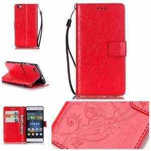 Magicfly PU kožené pouzdro na Huawei P8 Lite - červené - 1
