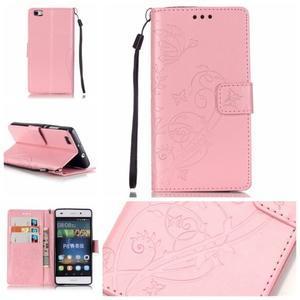 Magicfly PU kožené pouzdro na Huawei P8 Lite - růžové - 1