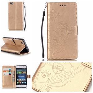 Magicfly PU kožené pouzdro na Huawei P8 Lite - zlaté - 1