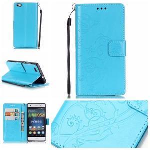 Magicfly PU kožené pouzdro na Huawei P8 Lite - modré - 1