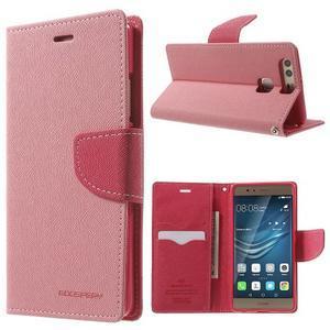 Diary PU kožené pouzdro na mobil Huawei P9 - růžové - 1