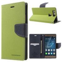 Diary PU kožené pouzdro na mobil Huawei P9 - zelené - 1/7