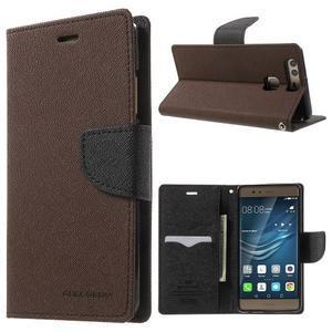 Diary PU kožené pouzdro na mobil Huawei P9 - hnědé - 1