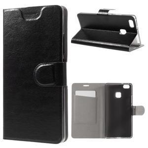 Horse PU kožené pouzdro na mobil Huawei P9 Lite - černé - 1