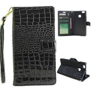 Croco peněženkové pouzdro na mobil Huawei P9 Lite - černé - 1