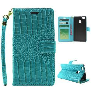 Croco peněženkové pouzdro na mobil Huawei P9 Lite - modré - 1