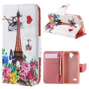 Emotive PU kožené pouzdro na Huawei Y5 - květiny a Eiffelova věž - 1