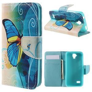 Emotive PU kožené pouzdro na Huawei Y5 - modrý motýl - 1