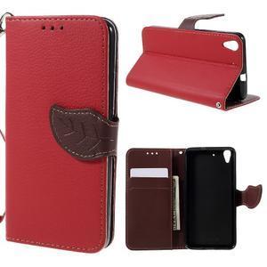 Leaf PU kožené pouzdro na mobil Huawei Y6 - červené - 1