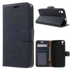 Clothy PU kožené pouzdro na Huawei Y6 - tmavěmodré - 1