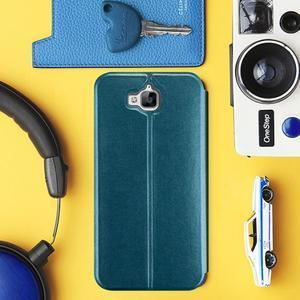 Vintage PU kožené pouzdro na mobil Huawei Y6 Pro - zelenomodré - 1