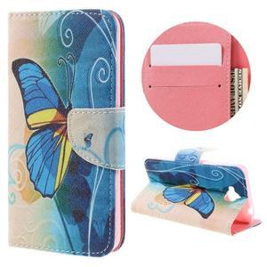 Emotive peněženkové pouzdro na mobil Huawei Y6 Pro - modrý motýl - 1