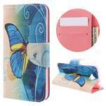 Emotive peňaženkové puzdro na mobil Huawei Y6 Pro - modrý motýľ - 1/7