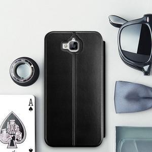Vintage PU kožené pouzdro na mobil Huawei Y6 Pro - černé - 1