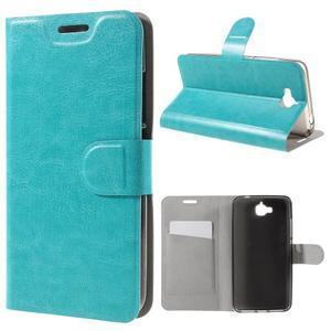 Horse PU kožené peněžekové pouzdro na Huawei Y6 Pro - modré - 1