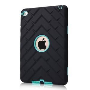 Vysoce odolný silikonový obal na tablet iPad mini 4 - černý/cyan - 1