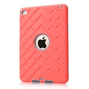 Vysoce odolný silikonový obal na tablet iPad mini 4 - oranžový/šedý - 1