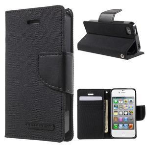 Canvas PU kožené/textilní pouzdro na iPhone 4 - černé - 1