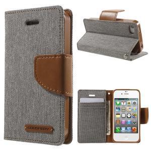 Canvas PU kožené/textilní pouzdro na iPhone 4 - šedé - 1