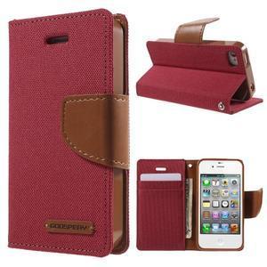 Canvas PU kožené/textilní pouzdro na iPhone 4 - červené - 1