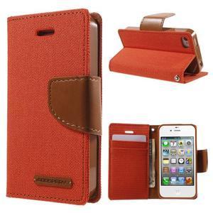 Canvas PU kožené/textilní pouzdro na iPhone 4 - oranžové - 1