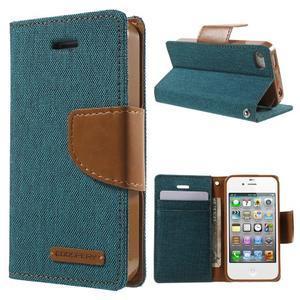 Canvas PU kožené/textilní pouzdro na iPhone 4 - zelenomodré - 1