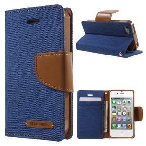 Canvas PU kožené/textilní pouzdro na iPhone 4 - modré - 1