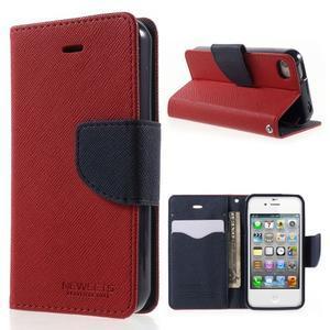 Fancys PU kožené pouzdro na iPhone 4 - červené - 1