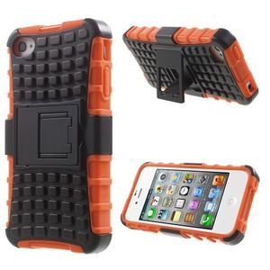 Outdoor odolný obal na mobil iPhone 4 - oranžový - 1
