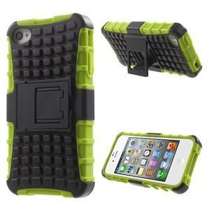 Outdoor odolný obal na mobil iPhone 4 - zelený - 1