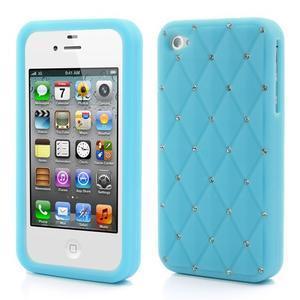 Diamonds silikonová obal na mobil iPhone 4 - světlemodrý - 1