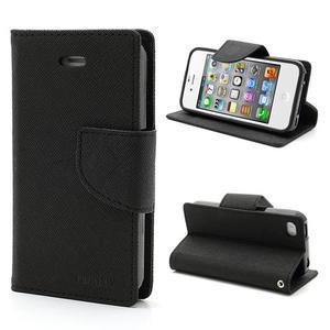 Fancys PU kožené pouzdro na iPhone 4 - černé - 1