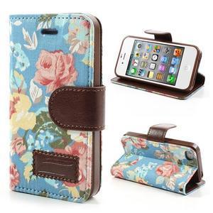 Elegantní PU kožené pouzdro na iPhone 4 - modré pozadí - 1