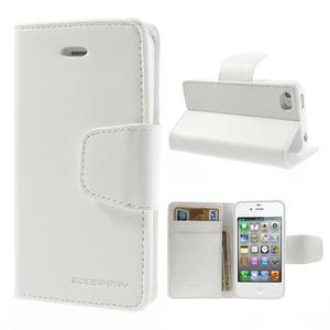 Diary PU kožené knížkové pouzdro na iPhone 4 - bílé - 1