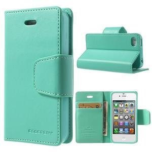 Diary PU kožené knížkové pouzdro na iPhone 4 - azurové - 1