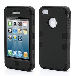 Silikonový odolný obal 3v1 na iPhone 4 - černý - 1