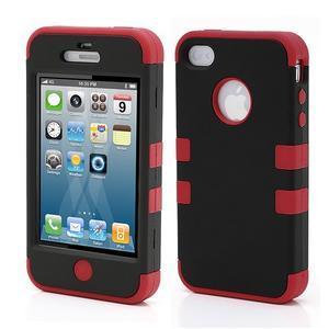 Extreme odolný kryt 3v1 na mobil iPhone 4 - červený - 1