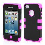 Extreme odolný kryt 3v1 na mobil iPhone 4 - fialovorůžový - 1/5