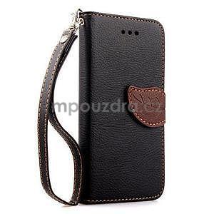 PU kožené peněženkové pouzdro pro iPhone 6s a 6 - černé - 1
