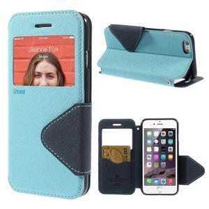 Peněženkové pouzdro s okýnkem na iPhone 6 a 6s - světle modré - 1