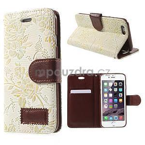 Elegantní květinové peněženkové pouzdro na iPhone 6 a 6s - bílé - 1